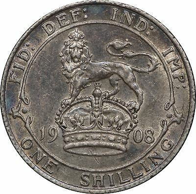 1908 UK Great Britain, 1 Shilling, XF 1S Extremely Fine