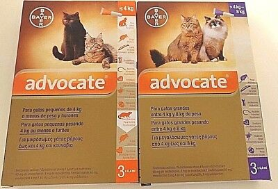 ADVOCATE Antiparasitaires Spot On chats / cats 1 - 8Kg - 3 Pipettes poux/puces