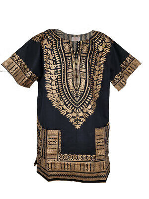 Black and Gold Traditional African Dashiki Shirt for Men