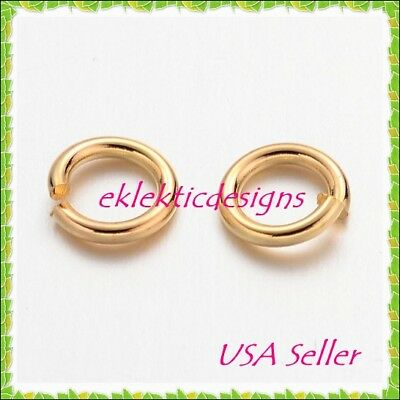 200 Gold Plated 6mm Jump Rings Jewelry Findings  G1342 Jewelry Making Supplies