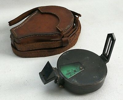Vtg 1877 Short & Mason War Dept Broad Arrow Military Green Dial Compass & Case
