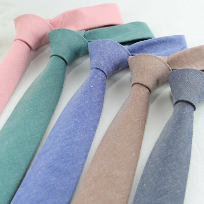 New Men Skinny Ties Narrow Solid Cotton Neck Ties Slim Necktie For Party Wedding