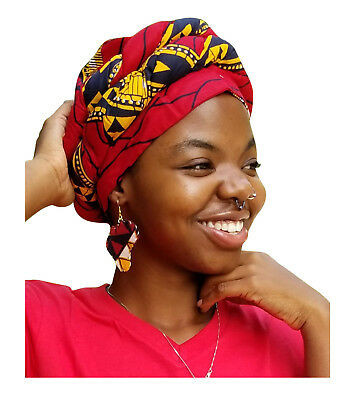 Red Diamond African Print Ankara Modu Hat Pre-tied Head Wrap DP2687PT