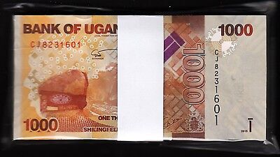 Uganda, 1000 Shillings, 2015, Unc, Bundle, Consecutive Pack of 100 Pcs, P-49c