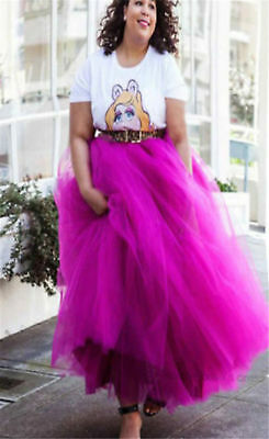 Red 6 Layer Maxi Women's Tulle Skirts Long Celebrity Skirt Ball Gown Plus Size