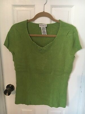 a13203cada986f Womens Size L White Stag Lime Green Ribbed Short Sleeve V-Neck Knit Top!