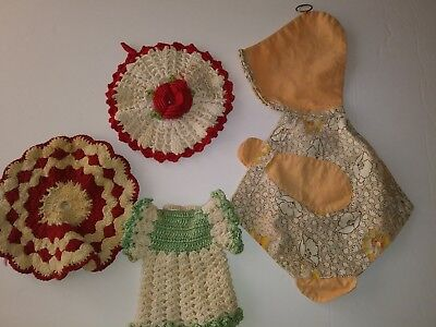 Doily potholders vintage red & white,geen&white,Sunbonnet Sue !!!