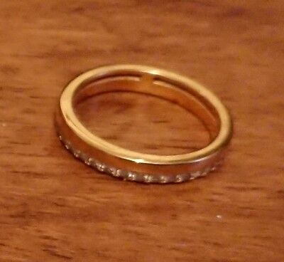 qvc channel set eternity half diamonique ring size p gold plated