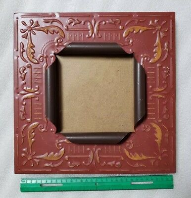 """Antique Ceiling Tin Picture Frame 6"""" x 6""""  Vintage Reclaimed Metal Red"""