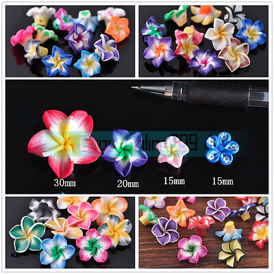 Wholesale Multi-Color Polymer Clay Lily Flowers Loose Spacer Beads 15/20/30mm
