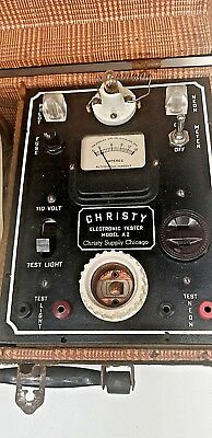 Vintage CHRISTY Electronic Tester Model A2 Portable With Metal Case Chicago USA