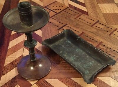 Antique Small Arts And Crafts Copper Candle Holder And Hammered Copper Tray Dish