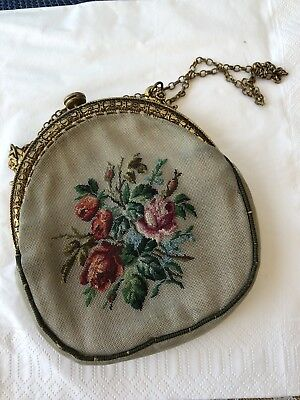Nice Vintage Small Handbag Purse With Metal Frame And Chain Cross Stitch Cute