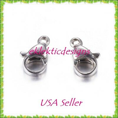 10 Pcs 304 Stainless Steel Lobster Claw Clasps Stainless Steel Color 15x7.5x3mm