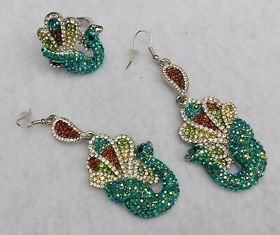 CN Signed Pair Drop Dangle Earrings & Ring, Pave, Peacock, Blue, Green, Amber