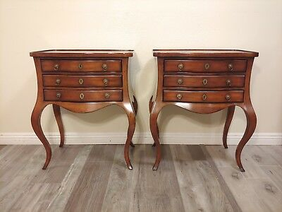 Pair of French Provincial Table du Soir 3 Drawer Nightstands by Drexel Heritage