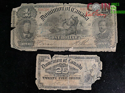 Lot Of 2 Rare Dominion Of Canada Bank Notes 1898 & 1900 - Rough Condition #7741