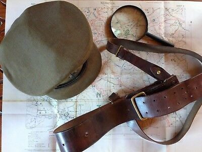 Rare WW1 British Officers Cap of the Royal Welsh Fusiliers with Sam Brown Belt.