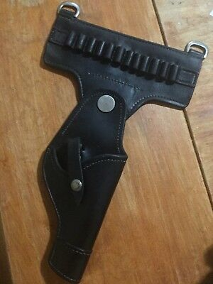 Vintage  Black Leather Police Revolver Ammo Loops Holster .38/.357 Police