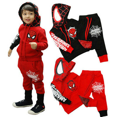 Kids Boy Clothes Set Long Sleeve Spiderman Hooded Tops+Pants Outfits 2Pcs Winter