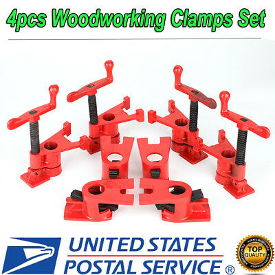 "4pcs 3/4"" Wood Gluing Pipe Clamp Set Heavy Duty PRO Woodworking Cast Iron"