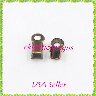 100pcs 6x3mm Antique Copper Folding Cord Crimps Ends Connectors Jewelry Finding