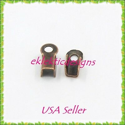 200pcs 6x3mm Antique Copper Folding Cord Crimps Ends Connectors Jewelry Finding