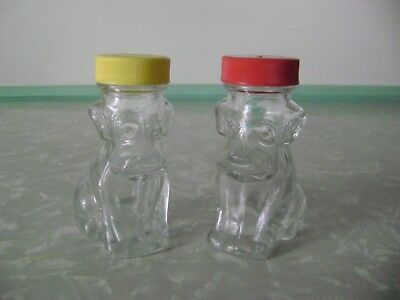 2 Glass Puppy Dog Figural Jars Bottles Spice Candy Containers