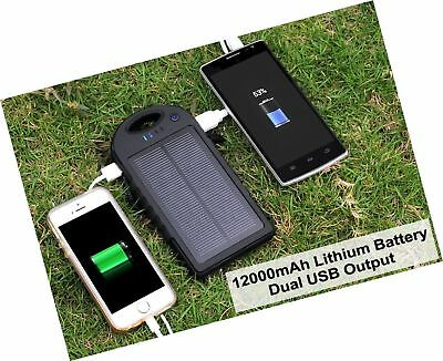 Portable Solar Power Bank Charger Battery For Cell Phone 2 USB Port Waterproof