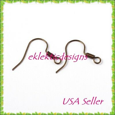 40pcs BRASS Antique Bronze French Hook & Coil Earrings Ear Wire 20pr Findings