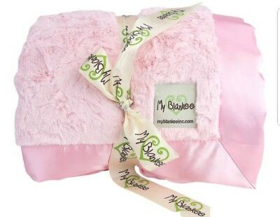 My Blankee Pink Minky Dot Flat Satin Border Baby Girl Security Blanket - NEW