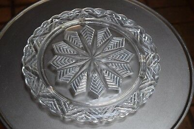 Vintage Clear Pressed Glass Cut Glass Snowflake Pattern Cake Plate