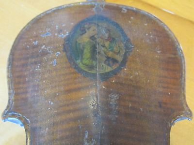 """One Very Old Dusty Broken Violin for Parts with Flamed Back Approx.  23"""" Long"""