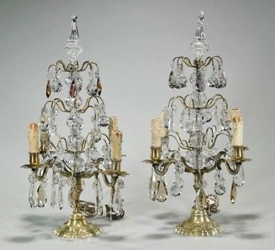 Pair French Glass Girandole Lamps Candlestick Chandelier