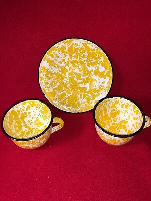 Vintage Graniteware Antique yellow & white swirl CUPS and SAUCER Enamelware rare
