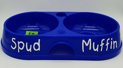 BNWT Petzplus Personalised Name Blue Twin Bowl 32cm Made In Aus
