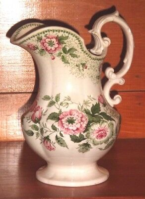 Antique large Transfer Ware  Pitcher Flowers 19th Century
