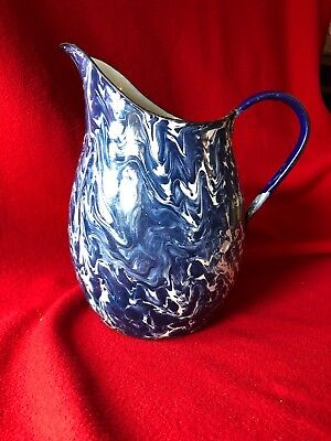 Antique Blue & White Swirl Graniteware Enamelware Pitcher Authentic