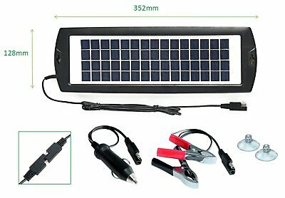Solar Car Battery Charger 12V Trickle Maintainer Power Portable Backup Boat RV