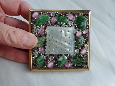 Vintage Elgin American USA Powder Compact Green Pink Stone Inlay Rhinestones