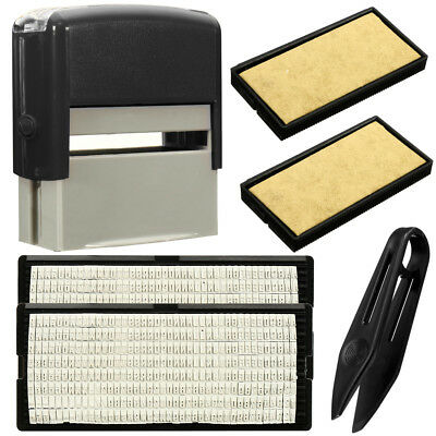 Custom Personalised Self Inking Rubber Stamp Kit Business Name Address DIY EA