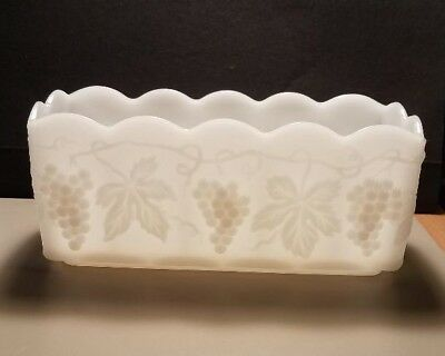 Anchor Hocking Fire King White Milk Glass Grape Rectangle Dish