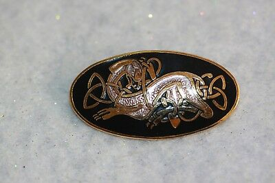 Vintage Jewelry Signed Celtic Sea Gems Enamel Zoomorphic Brooch