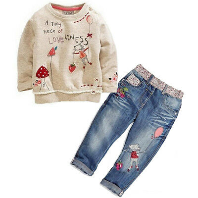 US STOCK Kids Baby Girls Clothing Tops Sweater + Jeans Trousers suit Set Outfit