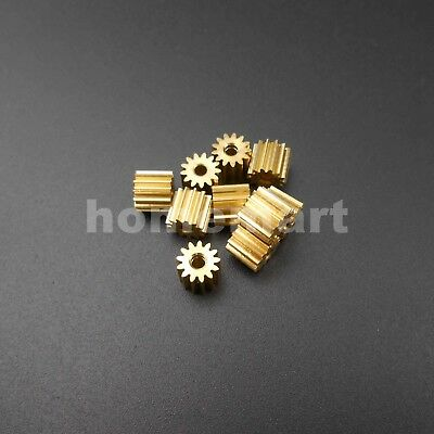 10PCS 0.4M 13T2A 13 Teeth Brass Gear 0.4 Modulus T=13 Aperture 2mm Tight DIY 13T