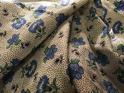 Moprimitivepast 1940s Vintage Blue Astrid Flower Cotton Quilting Fabric Section