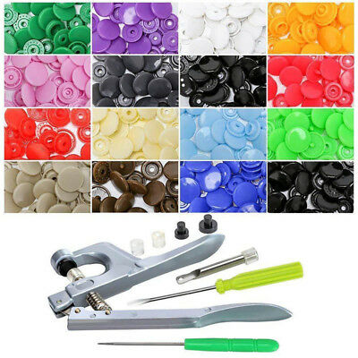 150pcs Plastic Snaps Hand Held Pliers Tool Sets Colors Buttons Sewing Tools T5