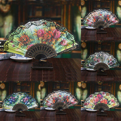 Multicolor Chinese Style Fan Lace Hand Held Folding Fan Dance Party Decor