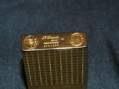 Vintage S.t. Dupont Paris Lighter Gold Plated With Original Box Nice Condition