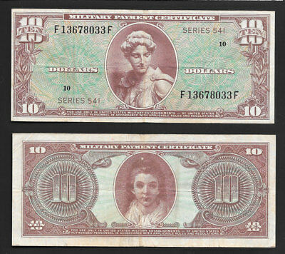 $10 Series 541 Military Payment Certificate Choice Mid Grade *scarce Note*